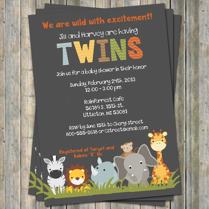 jungle animal baby shower invitations twin shower Digital