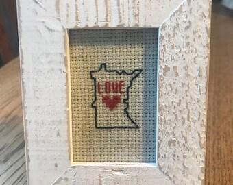 Love Minnesota Cross-Stitch Desk Art