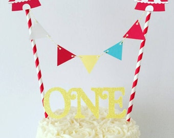 Circus Age Bunting Cake Topper / Vintage Circus / Carnival Birthday Party