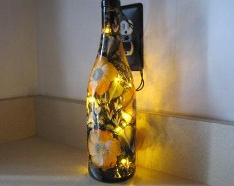 ON SALE Wine Bottle brown hand painted, great Birthday, Anniversary gift, Housewarming, Retirement, Nursery lamp, Night lamp, Teachers gift
