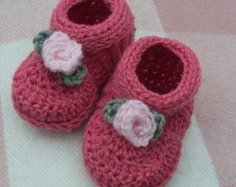 Download Now - CROCHET PATTERN Rosebud Baby Shoes - Pattern PDF