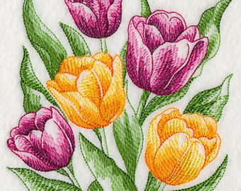 Sketched Style Tulips Embroidered Flour Sack Hand/Dish Towel