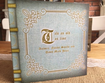 x1 Luxury Vintage/Rustic Story Book Inspired 'Tale as Old as Time' Invitation Set
