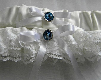 White Garter Set, Something Blue, white lace wedding garter set, blue button, white ribbon (includes keepsake and toss garters) -- size M