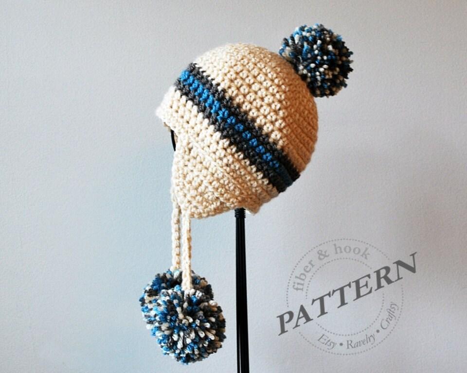 CROCHET PATTERN - Pom-Pom Earflap Beanie, Crochet Pom-Pom Hat, Ear ...