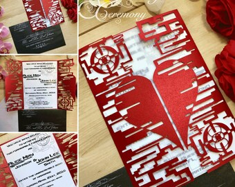 video game wedding invitation laser cut techie heart and sci fi halo design custom geek nerd gamer couple