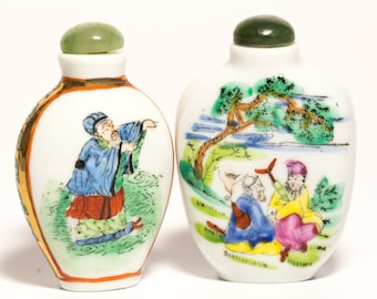 Vintage Chinese Ceramic Hand Painted Snuff Bottles