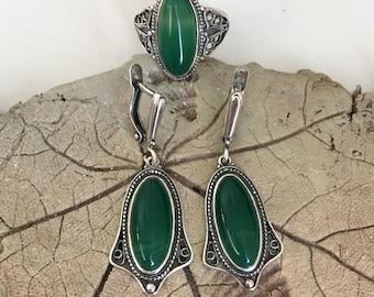 Nephrite Jewelry Set,  Nephrite Earrings,  Nephrite Ring, Green Earrings, Green Ring, Stainless Steel, Silver plated.