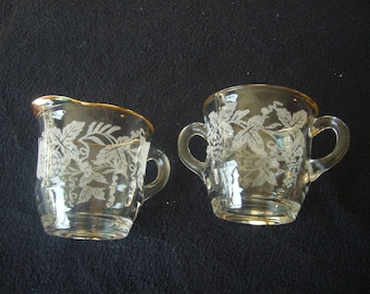 Vintage, Pressed, Florentine Glass, Creamer and Sugar Bowl