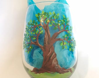 Happy Tree hand painted stemless wine glass - Spring Tree with Robin's Nest