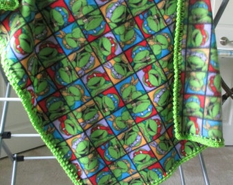 TEENAGE MUTANT NINJA Turtles Baby Blanket, Fleece with Hand Crochet Edge