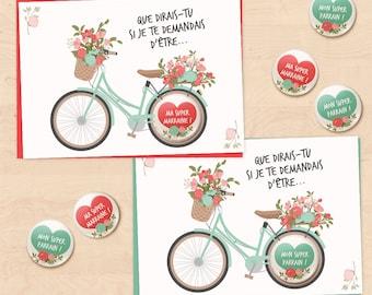 Set of 2 gift cards-badges requires godparent for baptism - floral bike Collection