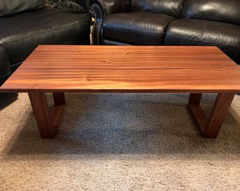 Hardwood Coffee Table with Geometric Wood Legs