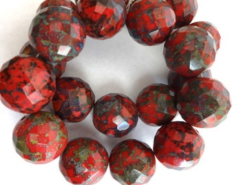 16 mm Red Fire Polished Czech Faceted Picasso Statement beads