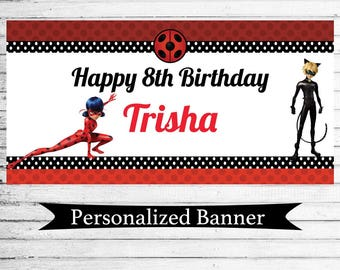 "Personalized 18""x30"" Miraculous Ladybug Birthday Party Banner 