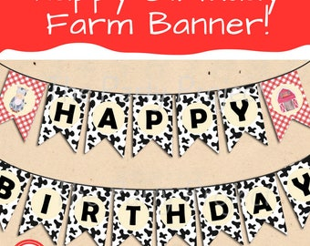 DIY Party PRINTABLE Farm Happy Birthday Banner