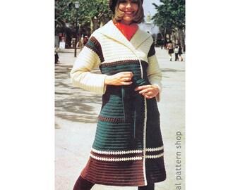 Crochet Coat Pattern Long Wrap Sweater Shawl Collar Crochet Pattern Womens Contrast Colors Coat Downloadable Pattern PDF- C190