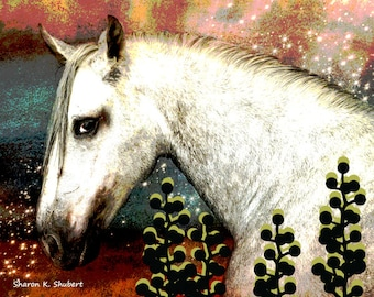 Horse Art, Fantasy Pony, Southwestern Home Decor, Totem Animal, Surreal Fantasy Artwork, Pink Green, Wall Hanging, Giclee Print, 8 x 10