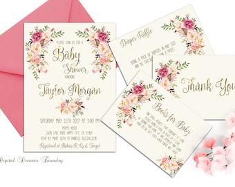Baby Girl Shower Invitation Floral Baby Shower Invitation Printable Boho Baby Invitation Blush Pink Baby Shower Spring Baby Shower