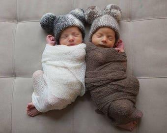 Baby Pom Pom Hat / Undyed Baby Alpaca Knit Hat