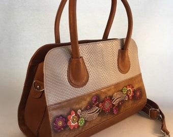 Large Hard Leather Handbag