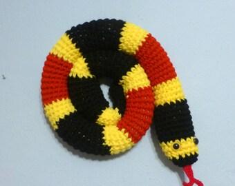 Door Draft Stopper Snake, Coral Snake, Red Yellow Black, Crochet Draft Dodger, Door Draft Snake, Window Sitter, Stuffed Snake, 46 inches