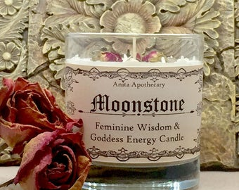 Moonstone Ritual Candle- Crystal grid, goddess, magick, pagan, witch, witchcraft, Wicca, Gypsy, Divination, Tarot, Grimoire