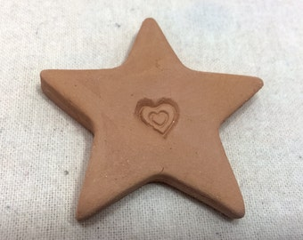 Handmade terracotta sugar keeper/ essential oil diffuser- pottery star with heart stamp, white gift bag- brown sugar saver, valentine's day
