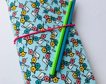 Fabric Travellers Notebook Complete with Notebooks. Fauxdori. Journal. Blue & Pink Bird print