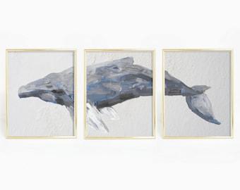 Set of 3 Prints, Humpback Whale Watercolor, Triptych Set, Nautical Bedroom Art, Humpback Print, Nautical Decor, Whale Art, Mother Gift Ideas