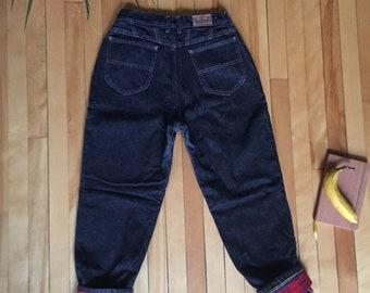 vintage 90s high-waisted fleece-lined mom jeans