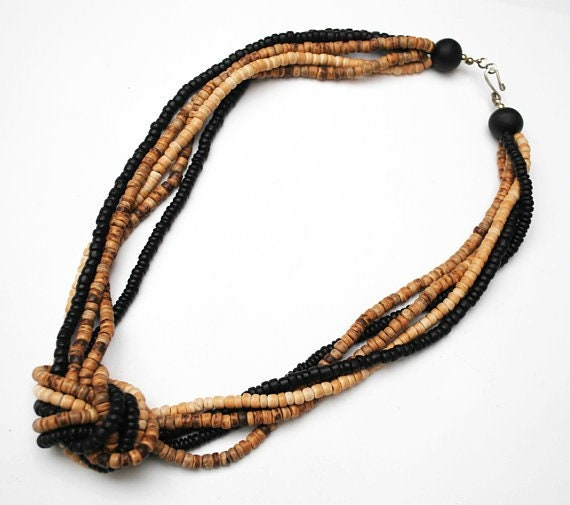 Twisted knot beaded necklace - Black wood - brown seed beads - Boho