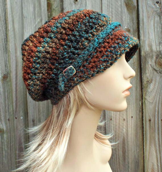 Womens Crochet Hat Womens Hat Newsboy Hat - Rust Teal Brown Newsboy Hat - Brown Hat Teal Hat Womens Accessories