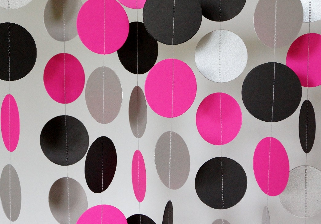 Hot Pink Black Silver Party Decoration Hot Pink Paper