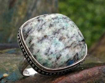 Green Blue Opal ring, dendrite, 925 sterling silver, T54 or 7 US: soothing the mind, liberating