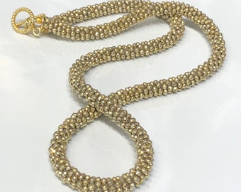 Gold Coated Pyrite Crocheted Gemstone Necklace with Gold Filled Toggle Clasp (CN87)