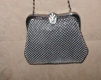 Vintage Graphite Color Bead-Mesh Evening Bag Purse