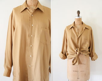 Vintage Golden Mustard Button Down Pointed Collar Shirt // Long Sleeve Front Tie Shirt