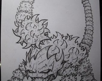 Helmasaur King from The Legend of Zelda Original Drawing