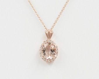 Morganite Diamond Necklace.0.14 ct High Quality Diamond & 8x6 mm AAA Natural Oval Morganite Pendant.14k Rose Gold Necklace.Simple Necklace