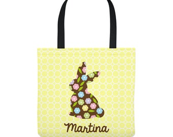 Personalized Easter Tote Bag - Floral Bunny on Yellow - Personalized with Child's Name - Three Sizes