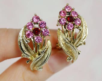 Vintage Clip-On Earrings with Pink Rhinestone Flowers and Gold-Tone Metal