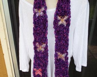 Handmade Fingerknit Butterfly Scarf with Shiny Purple Yarn