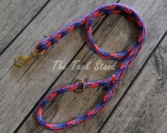 4' Brass Bolt Snap Polyester Rope Dog Leash with Purple, Pink, and Blue