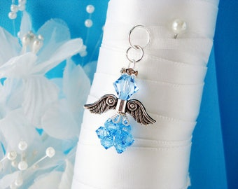Something Blue Bouquet Charm, Swarovski Crystal Angel Wedding Bouquet Charm, Aqua Something Blue Gift