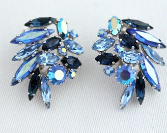 Sherman Vintage Signed Montana Blue and Sapphire Blue Rhinestone Ear-Climbers COLLECTIBLE JEWELRY