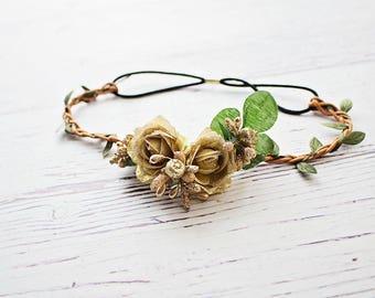Flower crown/ Boho Headband/ Flower Girl Halo Headband/ Gold Flower Girl Headband/ Baby Headband/ Rustic Wedding Headband/ Bridesmaid