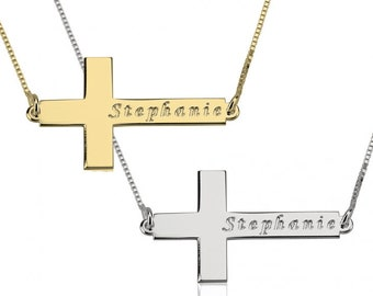 Sideways Cross Name Necklace, Name Necklace, Sterling Silver, Gold Plated and Rose Gold Plated, Sideways Cross Necklace, Cross Necklace