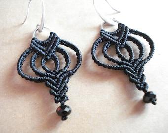 Black ethnic earrings, Tribal dangles, Geometric dangles, Micromacrame jewelry, Black cord earrings, Boho jewelry, Best friend gift.
