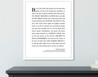 Inspirational graduation gifts for men, Man in the Arena Quote Print, Theodore Roosevelt speech